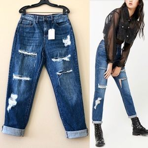 CELLO Distressed High-Rise Roll Cuffs Ankle Jeans